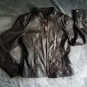Black Rivet brown leather jacket